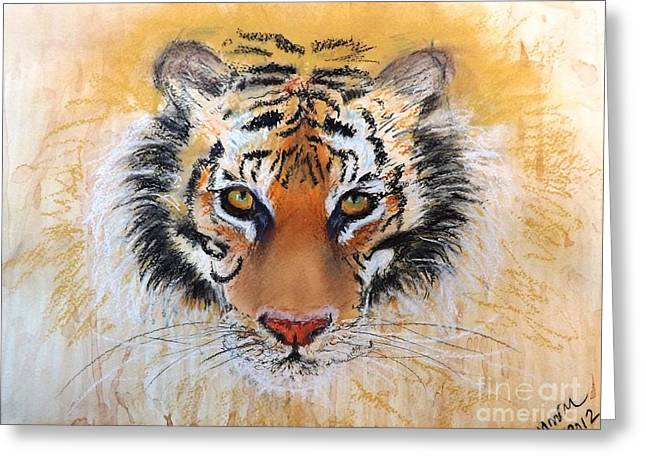 Tropical Rainforests Mixed Media Greeting Cards - Tiger Tiger Greeting Card by Michelle Wolff