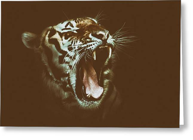 Growling Photographs Greeting Cards - Tigers Roar Greeting Card by Brigitte Werner