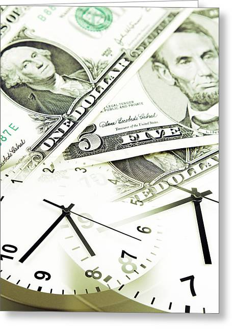 Urgency Greeting Cards - Time is money concept Greeting Card by Les Cunliffe