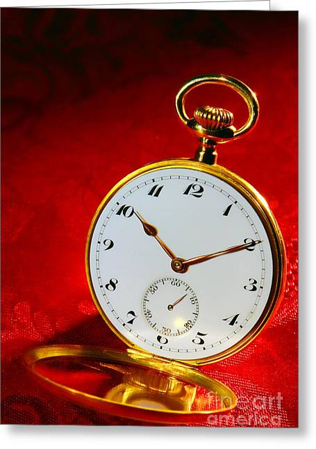 Watches Greeting Cards - Antique Pocket Watch Greeting Card by Olivier Le Queinec