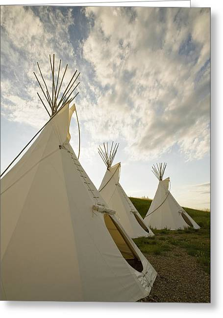 Indian Dwelling Greeting Cards - Tipis Just Outside The Grasslands Greeting Card by Dave Reede