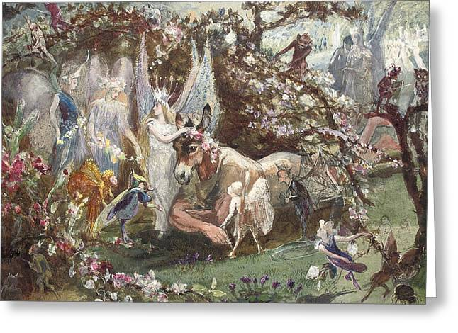 Fantasy Greeting Cards - Titania and Bottom Greeting Card by John Anster Fitzgerald