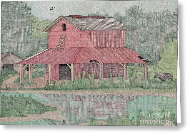 Shed Drawings Greeting Cards - Tobacco Barn Greeting Card by Calvert Koerber