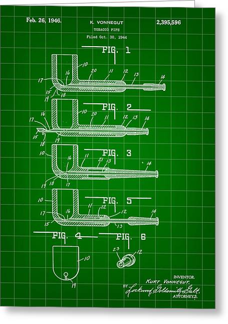 Tobacco Pipe Patent 1944 - Green Greeting Card by Stephen Younts