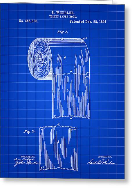 Ply Greeting Cards - Toilet Paper Roll Patent 1891 - Blue Greeting Card by Stephen Younts