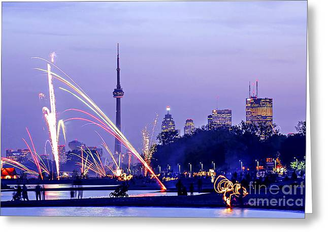 Spark Greeting Cards - Toronto fireworks Greeting Card by Elena Elisseeva