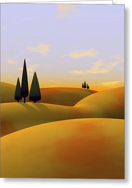 Rolling Hills Greeting Cards - Toscana 3 Greeting Card by Cynthia Decker
