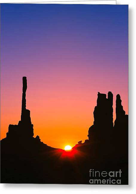 Star Burst Prints Greeting Cards - Totem Pole in Monument Valley Greeting Card by Henk Meijer Photography