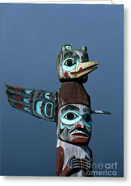 Wood Carving Greeting Cards - Totem Pole Greeting Card by Ron Sanford