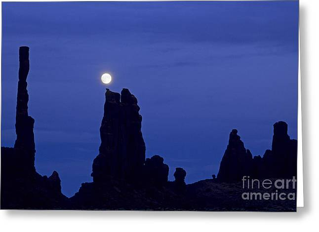 Yei Greeting Cards - Totem Pole Yei Bi Chei Moonrise Greeting Card by Fred Stearns