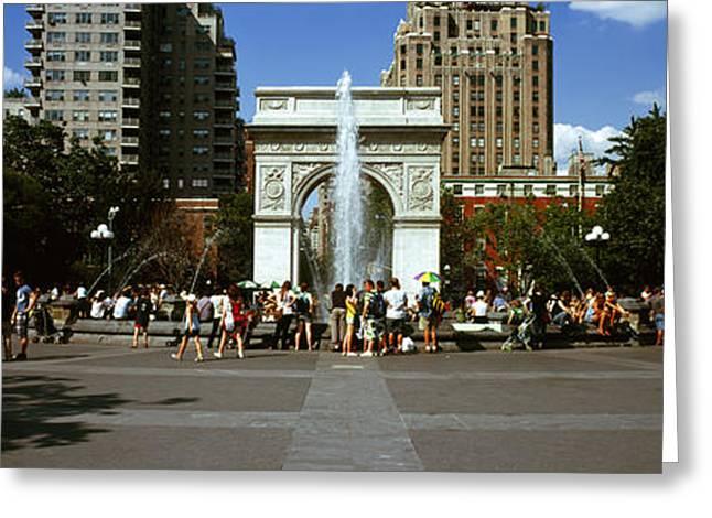 Washington Square Park Greeting Cards - Tourists At A Park, Washington Square Greeting Card by Panoramic Images