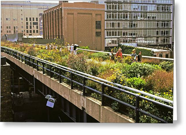 High Line Greeting Cards - Tourists In An Elevated Park, High Greeting Card by Panoramic Images