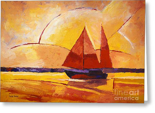 Abstract Seascape Greeting Cards - Towards the Light Greeting Card by Lutz Baar