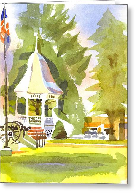Town Square Paintings Greeting Cards - Town Square Greeting Card by Kip DeVore