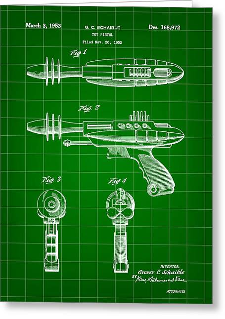 Phaser Greeting Cards - Toy Ray Gun Patent 1952 - Green Greeting Card by Stephen Younts