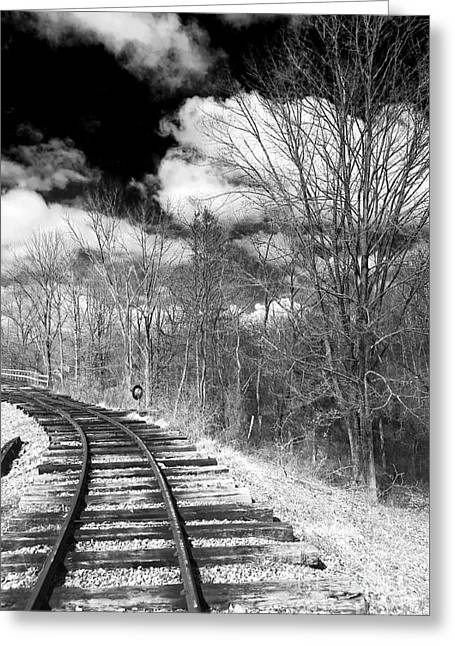 Black And White Train Track Prints Greeting Cards - Tracks Greeting Card by John Rizzuto