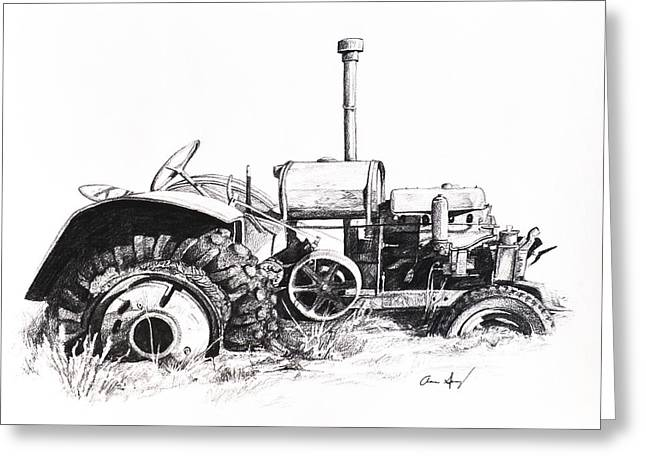 Steering Drawings Greeting Cards - Tractor Greeting Card by Aaron Spong