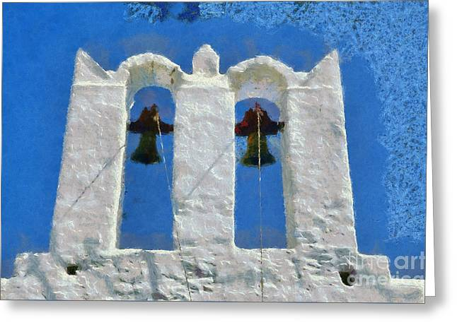 White Greeting Cards - Traditional belfry in Sifnos island Greeting Card by George Atsametakis