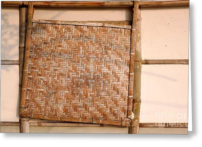 Bamboo House Photographs Greeting Cards - Traditional Chinese Bamboo Structure Greeting Card by Yali Shi