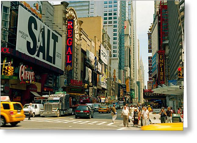 Traffic Greeting Cards - Traffic In A City, 42nd Street, Eighth Greeting Card by Panoramic Images