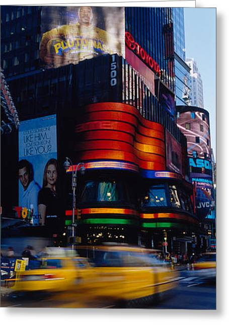 Crosswalk Greeting Cards - Traffic On A Street, Times Square Greeting Card by Panoramic Images