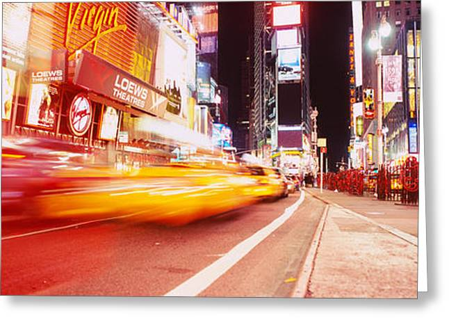 Life Speed Greeting Cards - Traffic On The Road, Times Square Greeting Card by Panoramic Images