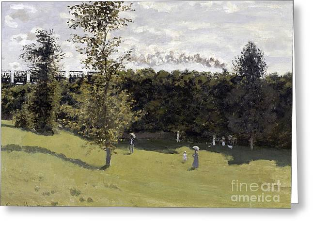 Vintage Painter Greeting Cards - Train in the Countryside Greeting Card by Claude Monet