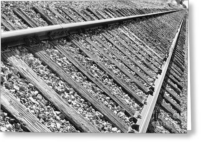Railroad Tie Greeting Cards - Train Tracks Triangular in Black and White Greeting Card by James BO  Insogna