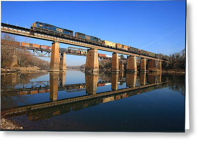 Train On Bridge Greeting Cards - 2 Trains 2 Trestles Cayce South Carolina Greeting Card by Joseph C Hinson Photography