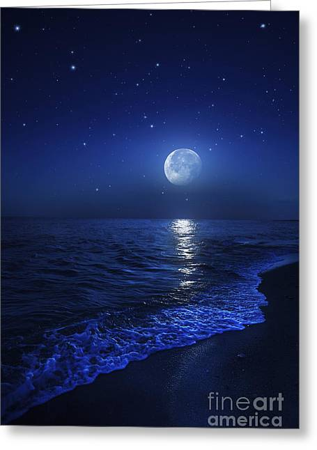 Sea Moon Full Moon Greeting Cards - Tranquil Ocean At Night Against Starry Greeting Card by Evgeny Kuklev