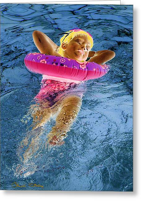 Floating Girl Greeting Cards - Tranquility Greeting Card by Chuck Staley