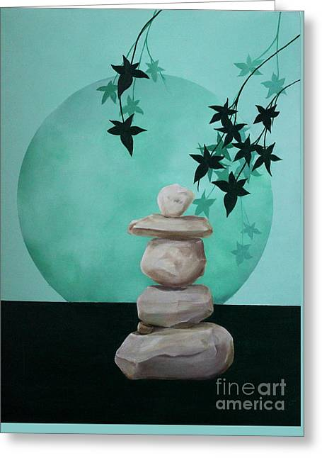 Zen Rock Stacking Greeting Cards - Tranquility Greeting Card by D L Gerring