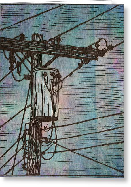 Lino Greeting Cards - Transformer Greeting Card by William Cauthern