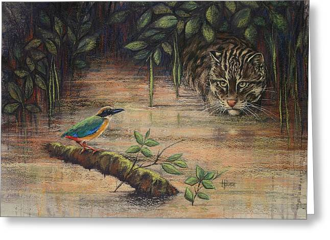 Hunting Pastels Greeting Cards - Treading Water Asian Fishing Cat Greeting Card by Cynthia House