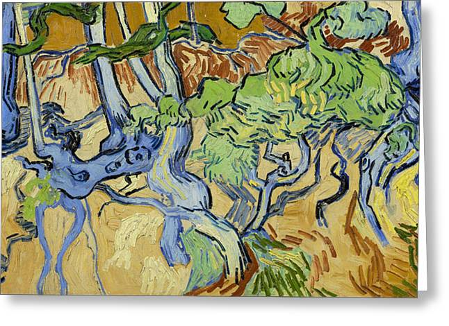 Tree Roots Paintings Greeting Cards - Tree-roots Greeting Card by Vincent van Gogh