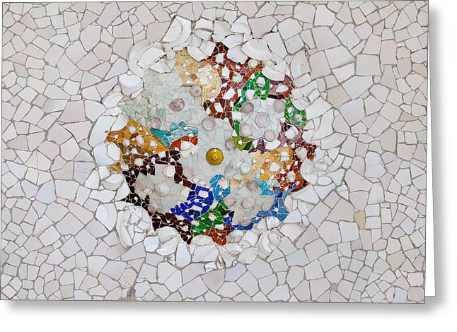 Modernism Greeting Cards - Trencadis Mosaic in Park Guell in Barcelona Greeting Card by Artur Bogacki