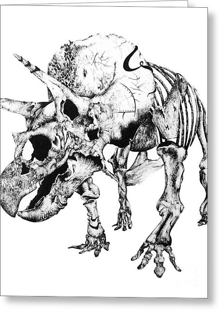 Extinct And Mythical Drawings Greeting Cards - Tris Bones Greeting Card by Penelope Fedor
