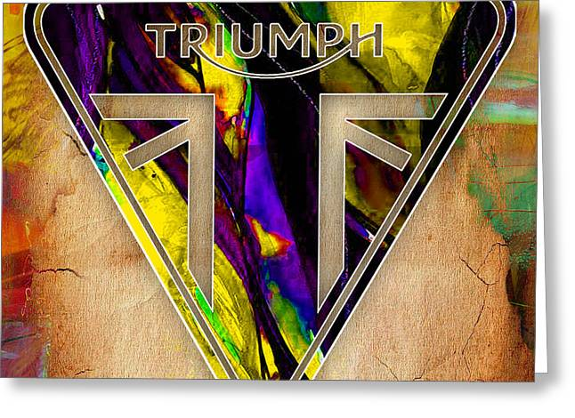 Sports Greeting Cards - Triumph Motorcycle Greeting Card by Marvin Blaine