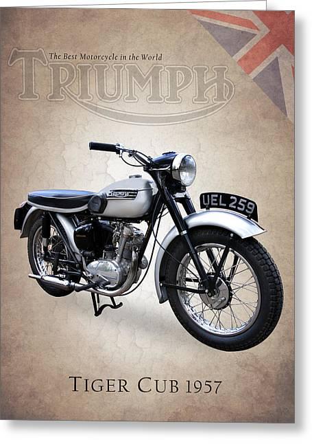 Vintage Bike Greeting Cards - Triumph Tiger Cub Greeting Card by Mark Rogan