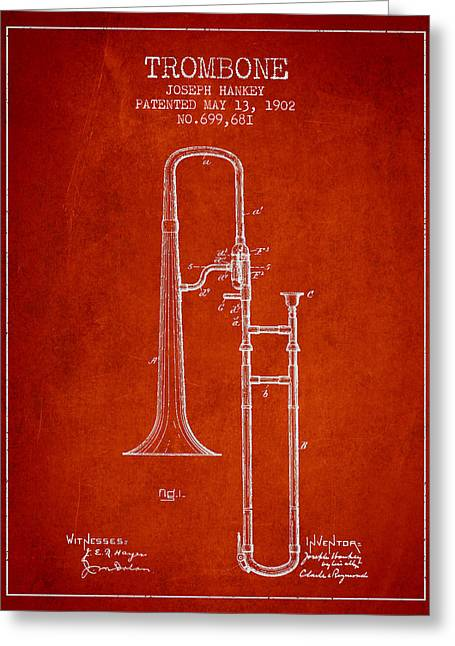 Trombone Patent From 1902 - Red Greeting Card by Aged Pixel