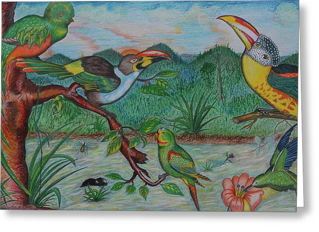 Tropical Dialogue Greeting Card by John Powell