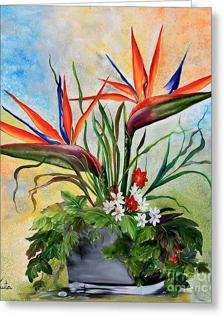 Strelitzia Paintings Greeting Cards - Tropical Flowers Greeting Card by  ILONA ANITA TIGGES - GOETZE  ART and Photography