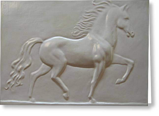 Framed Reliefs Greeting Cards - Trotting Horse Greeting Card by Deborah Dendler