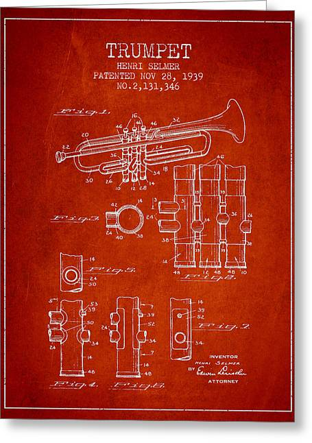 Trumpet Greeting Cards - Trumpet Patent from 1939 - Red Greeting Card by Aged Pixel