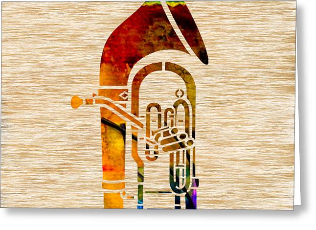 Musical Instruments Greeting Cards - Tuba Greeting Card by Marvin Blaine