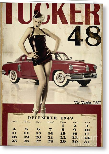 Vintage Pinup Greeting Cards - Tucker 48 Greeting Card by Cinema Photography