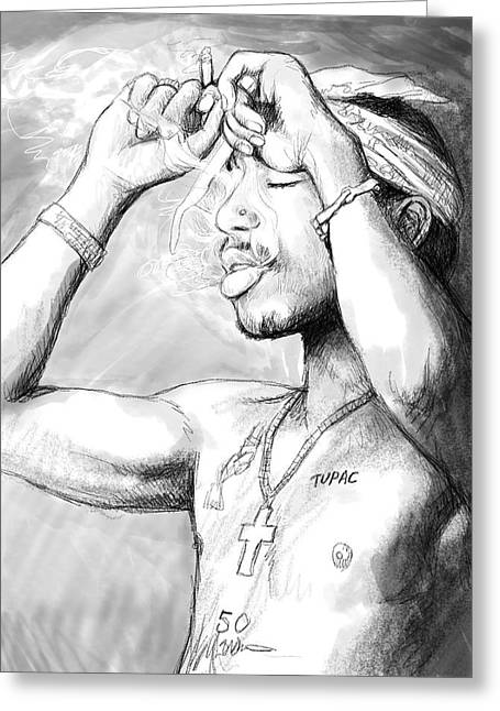 New Stage Greeting Cards - Tupac shakur art drawing sketch portrait Greeting Card by Kim Wang