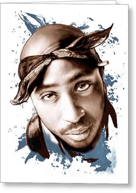 Featured Portraits Greeting Cards - Tupac Shakur colour drawing art poster Greeting Card by Kim Wang