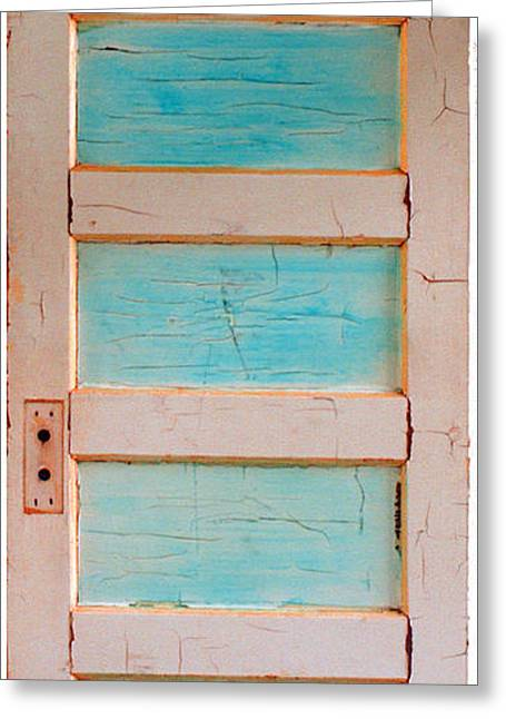 Turquoise Doorway And Ladder To The Sky Greeting Card by Asha Carolyn Young