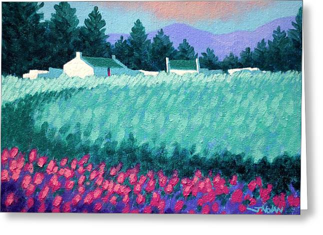 Acrylic Greeting Cards - Turquoise Meadow Greeting Card by John  Nolan